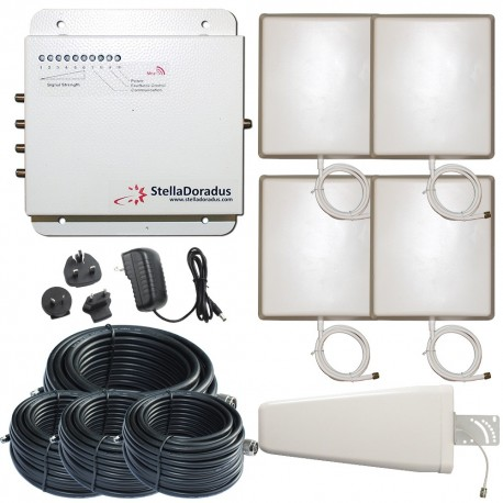 Ripetitore Amplificatore StellaDoradus StellaOffice GSM SD-RP1002-G-4P - 4000mq - Yagi Esterna