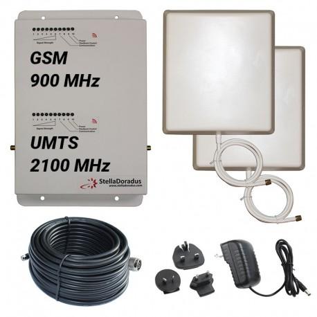 RIPETITORE AMPLIFICATORE STELLA DORADUS STELLAHOME DUAL BAND GSM UMTS SD-RP1002GW - 2000mq - PANNELLO ESTERNO