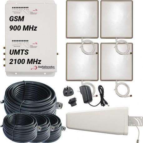 Ripetitore Amplificatore StellaDoradus StellaOffice Dual Band GSM, UMTS / 3G - SD-RP1002-GW-4P - 4000mq - Yagi Esterna