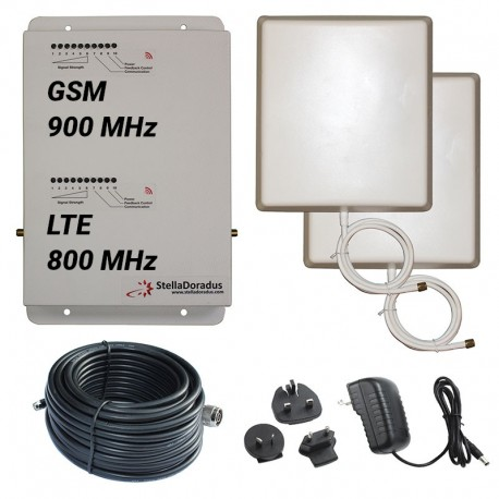 Ripetitore Amplificatore StellaDoradus StellaHome Dual Band GSM, LTE / 4G 800MHz - SD-RP1002-LG - 1000mq - Pannello Esterno