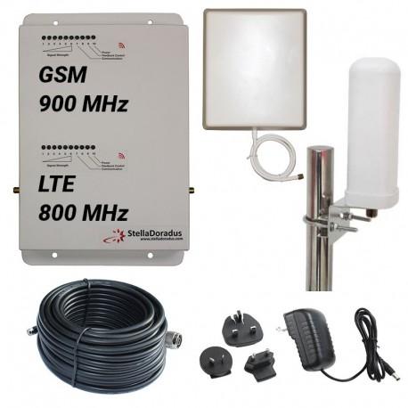 Ripetitore Amplificatore StellaDoradus StellaHome Dual Band GSM, LTE / 4G 800MHz - SD-RP1002-LG - 2000mq - Omni Esterna