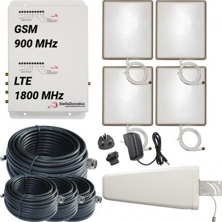 Ripetitore Amplificatore StellaDoradus StellaOffice Dual Band GSM, LTE / 4G 1800MHz - SD-RP1002-GD-4P - 4000mq - Yagi Esterna
