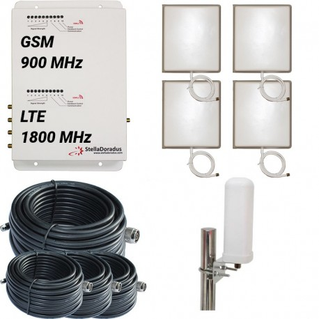 Ripetitore Amplificatore StellaDoradus StellaOffice Dual Band GSM, LTE / 4G 1800MHz - SD-RP1002-GD-4P - 4000mq - Omni Esterna