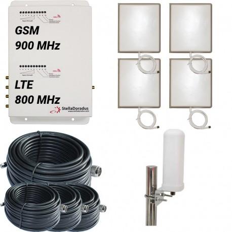 Ripetitore Amplificatore StellaDoradus StellaOffice Dual Band GSM, LTE / 4G 800MHz - SD-RP1002-LG-4P - 4000mq - Omni Esterna