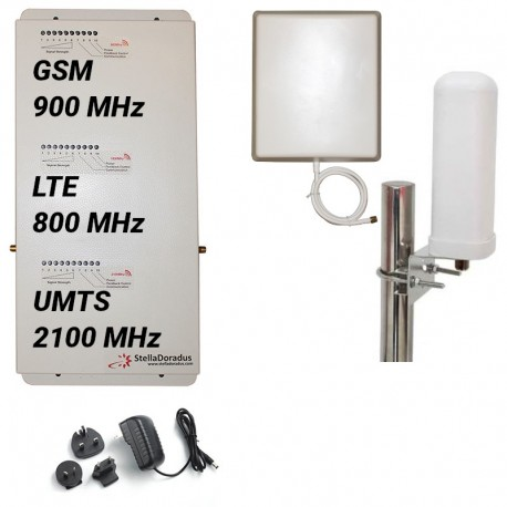 Ripetitore Amplificatore StellaHome Tri Band GSM, UMTS / 3G, LTE / 4G 800MHz - SD-RP1002-LGW - 1000mq - Omni Esterna