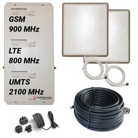 Ripetitore Amplificatore StellaHome Tri Band GSM, UMTS / 3G, LTE / 4G 800MHz - SD-RP1002-LGW - 2000mq - Pannello Esterno