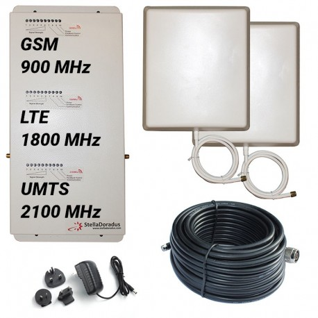 Ripetitore Amplificatore StellaHome Tri Band GSM, UMTS / 3G, LTE / 4G 1800MHz - SD-RP1002-GDW - 1000mq - Pannello Esterno