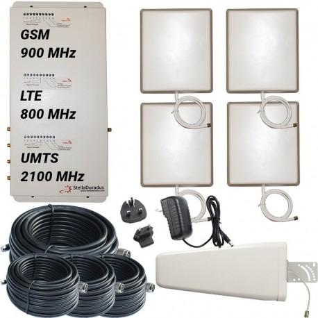 Ripetitore Amplificatore StellaOffice Tri Band GSM, UMTS / 3G, LTE / 4G 800MHz - SD-RP1002-LGW-4P - 4000mq - Yagi Esterna