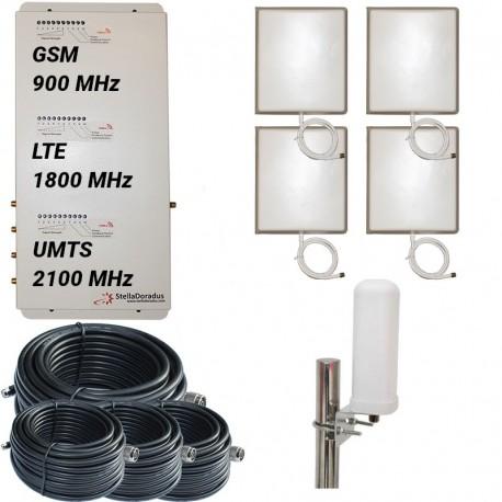 Ripetitore Amplificatore StellaOffice Tri Band GSM, UMTS / 3G, LTE / 4G 1800MHz - SD-RP1002-GDW-4P - 4000mq - Omni Esterna