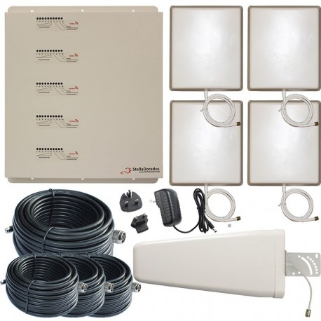 Ripetitore Amplificatore StellaOffice Penta Band GSM, UMTS / 3G, LTE / 4G - SD-RP1002-LGDWH-4P - 4000mq - Yagi Esterna